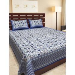 Sanganeri Jaipuri Rajasthani Printed Double Bedsheet THH-161