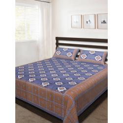 Sanganeri Jaipuri Rajasthani Printed Double Bedsheet THH-162