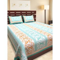 Sanganeri Jaipuri Rajasthani Printed Double Bedsheet THH-163