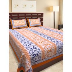 Sanganeri Jaipuri Rajasthani Printed Double Bedsheet THH-164