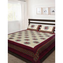 Sanganeri Jaipuri Rajasthani Printed Double Bedsheet THH-166
