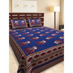 Sanganeri Jaipuri Rajasthani Printed Double Bedsheet THH-167