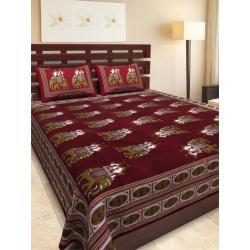 Sanganeri Jaipuri Rajasthani Printed Double Bedsheet THH-168