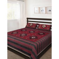 Sanganeri Jaipuri Rajasthani Printed Double Bedsheet THH-169
