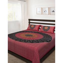 Sanganeri Jaipuri Rajasthani Printed Double Bedsheet THH-171
