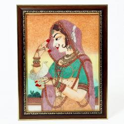 Cute Bani Thani With Pigeon Gemstone Painting