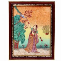 Lady Feeding Peacock Ethnic Gemstone Painting