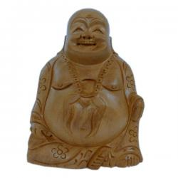 Good Luck Laughing Buddha in Fine Carved Wood