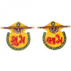 Designer Kundan Matki Shubh Labh Door Hanging