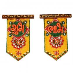 Wooden Crafted Unique Shubh Labh Door Hangings