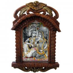 Radha Krishna Photo Frame Wooden Jharokha Gift