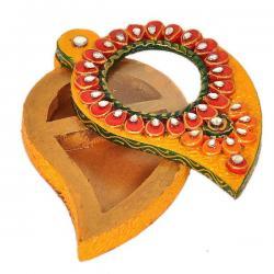 Unique Kundan Meenakari Mango Design Container