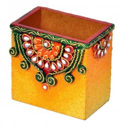 Decorative Kundan Meenakari Wooden Pen Stand