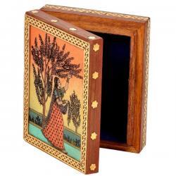 Meera Gemstone Painting Wooden Jewelry Box