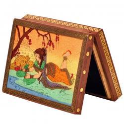 Wooden Jewelry Box Gemstone Meera Painting