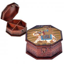 Hand Painted Octagonal Wooden Art Jewelry Box