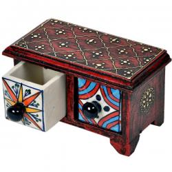 Wooden Ceramic Blue Pottery Double Drawer Set