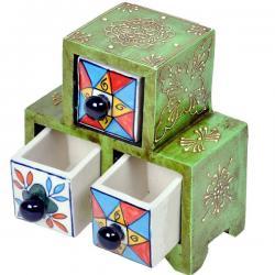 Wooden Ceramic Blue Pottery Triple Drawer Set
