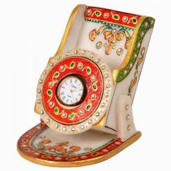 Kundan Meenakari Marble MobileStand with Clock