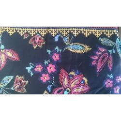 Black/Multi color printed rayon fabric