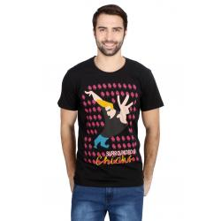 Planet Superheroes - Johnny Bravo - Surrounded By Chics Black T-Shirt