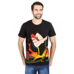 Planet Superheroes - Johnny Bravo - The Fire Fighter Black T-Shirt