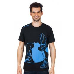 Planet Superheroes - Johnny Bravo - On The Phone Black T-Shirt