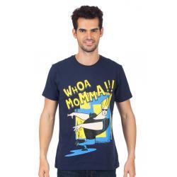 Planet Superheroes - Johnny Bravo - Whoa Momma Dark Blue T-Shirt