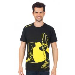 Planet Superheroes - Johnny Bravo - On Phone Black T-Shirt