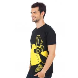 Planet Superheroes - Johnny Bravo - On Phone Black T-Shirt 2