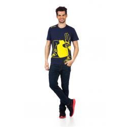 Planet Superheroes - Johnny Bravo - On Phone Dark Blue T-Shirt 1