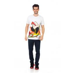 Planet Superheroes - Johnny Bravo - The Fire Fighter White T-Shirt 1