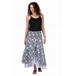 Uttam  Cotton Printed Black And White Color Long Skirt