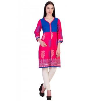 ilma  Jacket style Printed Pink Cotton Kurti 1