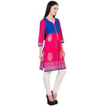 ilma  Jacket style Printed Pink Cotton Kurti 2