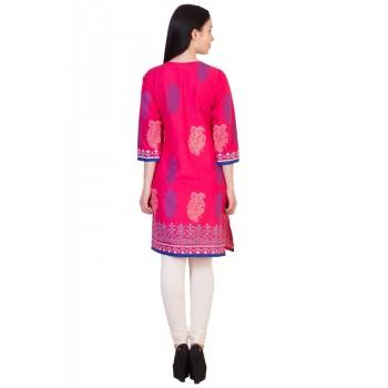 ilma  Jacket style Printed Pink Cotton Kurti 4