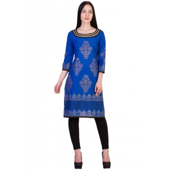 ilma Blue Printed Cambric Cotton Kurta / Kurti 1