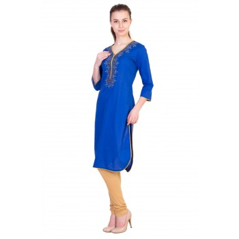 ilma Blue Embroidery Cotton Kurta / Kurti