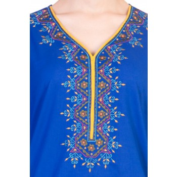 ilma Blue Embroidery Cotton Kurta / Kurti  3