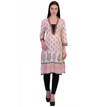 ilma Off White Printed Cambric Cotton Kurti / Kurta