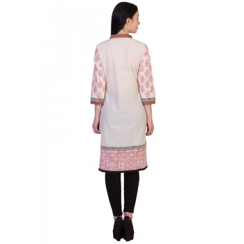 ilma Off White Printed Cambric Cotton Kurti / Kurta 3