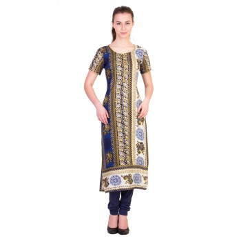 ilma Multi Colored Half Sleeve Long Rayon Kurta / Kurti