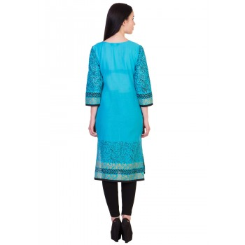 ilma Light Blue printed Cotton Kurti / Kurta 3