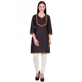ilma Black Thread Work Cotton Kurti