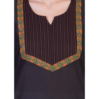 ilma Black Thread Work Cotton Kurti 4