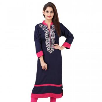 Swati Textile Rayon Embroidery Kurti Buy At Wholesale Price