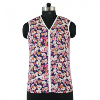 V Neck Sleeveless Printed Cotton Multi Color Pearl Top