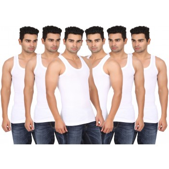 Lyril Mens Classic White Rib Vest