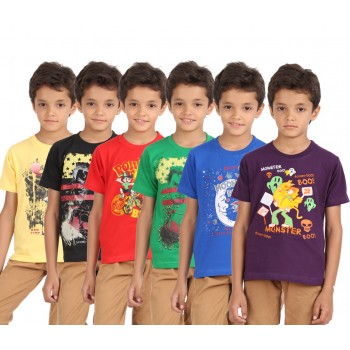 Lyril Boys Round Neck Half Sleeve Printed T-shirts (Size:26-28)