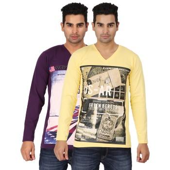 Lyril V Neck Full Sleeve Printed T-shirts 10 PCS Pack
